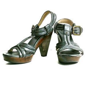 Frye Leather Platform Sandals Slate Gray Sandals